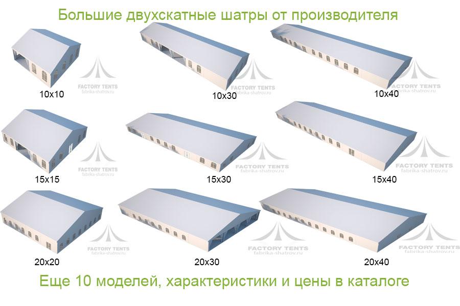 Каталог больших шатров-павильонов компании Фабрика Шатров