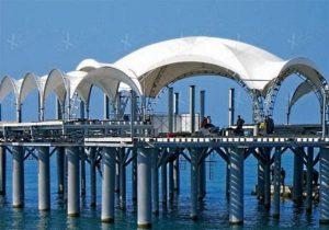 Арочный шатер Expotent Дюна 8Х8М в море на сваях