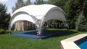 Арочный шатер Тент Престиж 6Х6М в парке рядом с бассейном