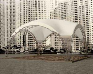 Арочный шатер DUNE 10Х10М, компании Тентлайн вна площадке большого микрорайона