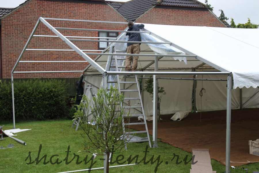 Двухскатный каркасный шатер для дачи