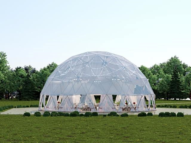 открытый сферический шатер для свадьбы