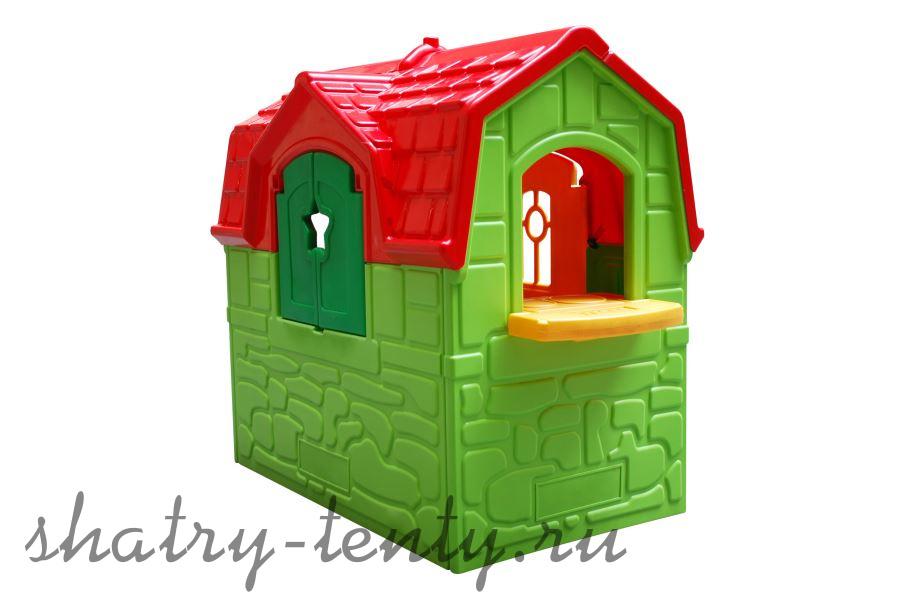 зеленый пластиковый детский домик с красной крышей