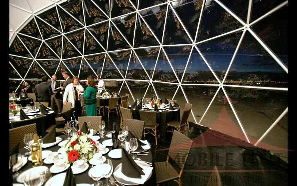 ресторан в сферическом шатре с панорамным видом