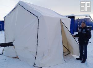"""Палатка кабельщика """"Шатер для труб ПНД"""" на месте проведения работ"""