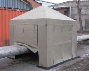 Палатка сварщика 2,5х2,5 м ТАФ на месте проведения ремонтных работ