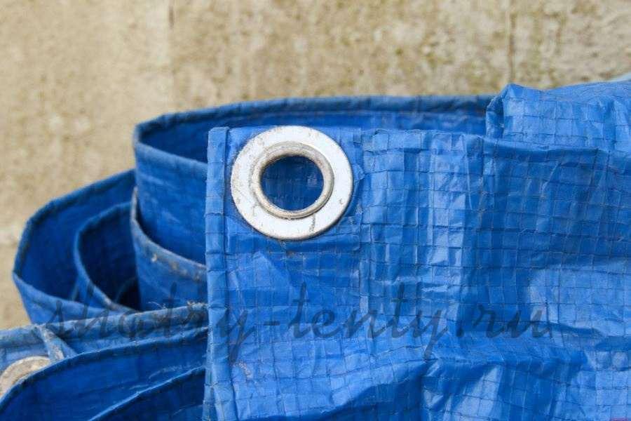 Синий укрывной строительный тент из полимерного материала