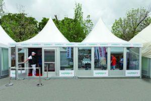 Два шатра-павильона «Пагода» соединенных вместе в одно помещение, компания А-ТЕНТ