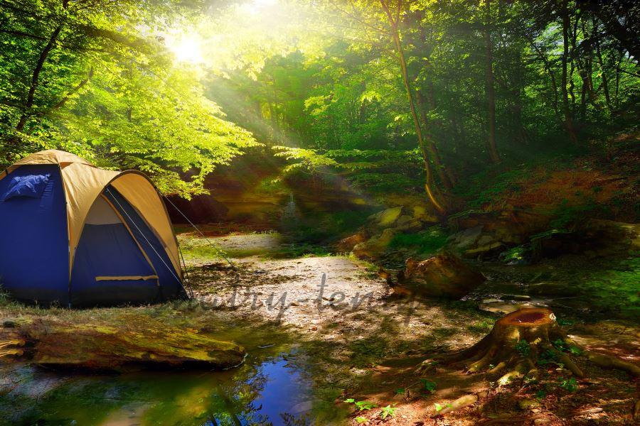 Автоматический шатер для кемпинга в лесу рядом с речкой