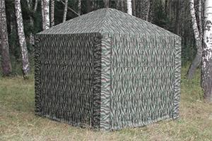 Хаки Шатер Митек Пикник-Люкс 3,0 х 3,0 в березовом лесу