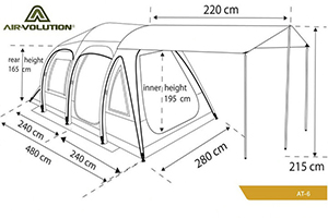 Схема с размерами надувной палатки Darche