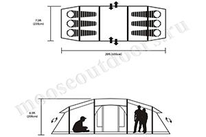 Схема расположения людей в палатке 2060E Moose outdoors