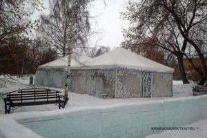 Зимний павильон КРАСНОЯРСК ТЕНТ 6 Х 6 М на снегу в парке
