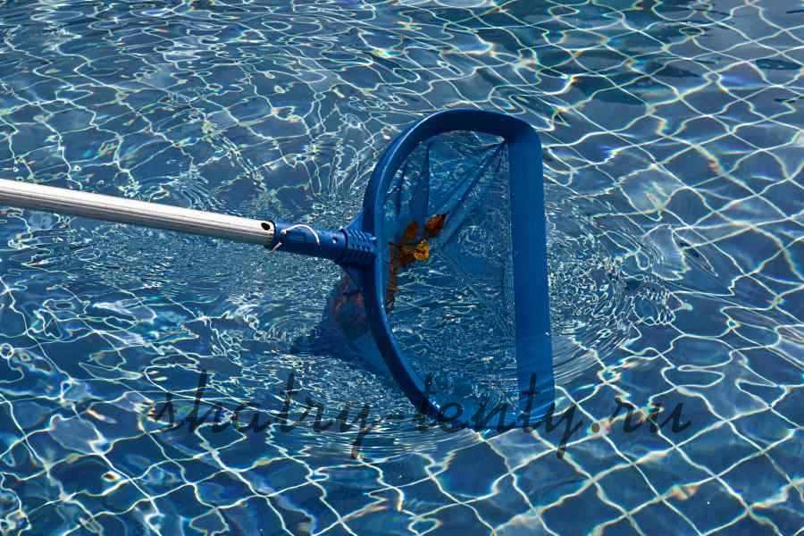 сачек для сбора листьев с поверхности открытого бассейна