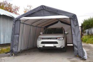 Тентовый гараж Shelter Logic 3х6,1х2,4 м с автомобилем внутри