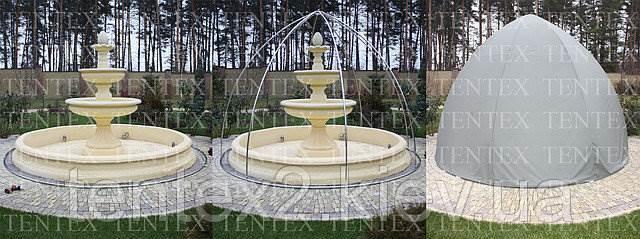 Каркасный шатер тент для защиты фонтана в зимнее время