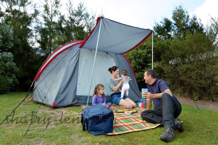Семейный отдых в шатре-тенте для кемпинга