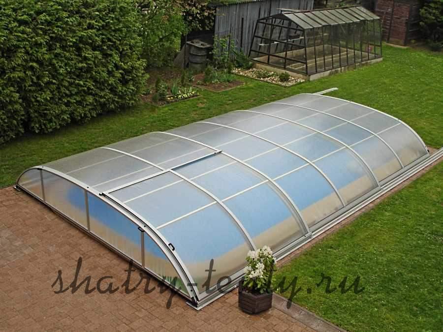 Стационарный раздвижной павильон для бассейна из поликарбоната