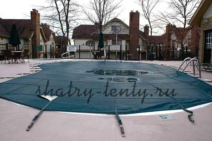 Тент для бассейна на веревках или фиксаторах