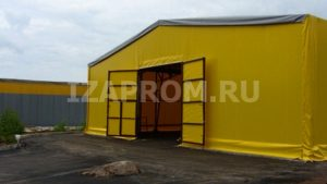 Тентовый ангар 15х15м, компания Фабрика Шатров, с воротами по центру