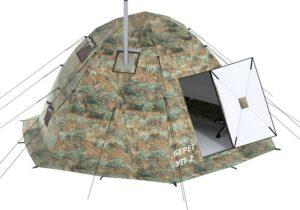 Универсальная палатка Берег УП-2 в камуфляжной расцветке с дверью и вытяжной трубой