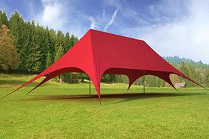 Красная шатер-палатка Звезда, Фабрика Шатров, Россия, вид сбоку