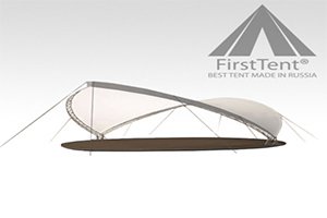 Белый каскадный шатер FIRST TENT 30 Х 18 М для мероприятий