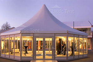 Белый Шатер шестигранный CLASSIC TENT Пагода из ПВХ 8 X 10 М, производство Россия