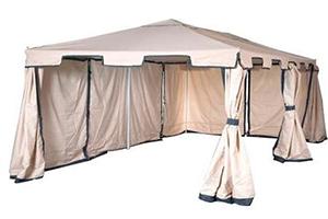 Бежевый с синей окантовкой шатер Green Glade 1048 с двумя закрытыми стенками