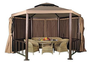 Бежевый шатер Гексагон С 1 с мебелью из ротанга