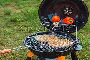 Черный барбекю гриль Lunatik 11387N с двухярусной сеткой для мяса и овощей