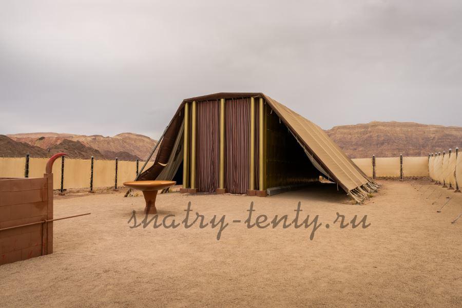 Легкая ограда из мобильных конструкций вокруг шатра-дома