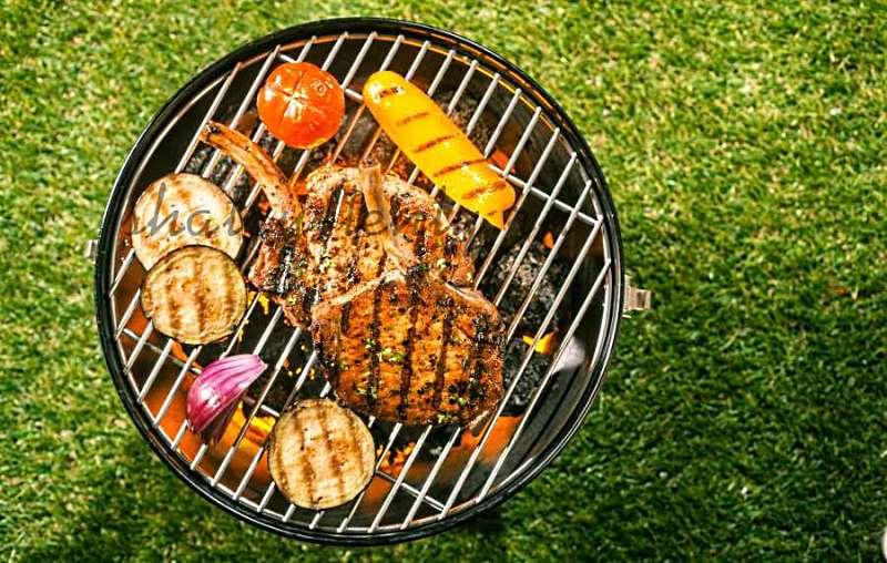 Мясо и овощи на решетке переносного угольного гриля