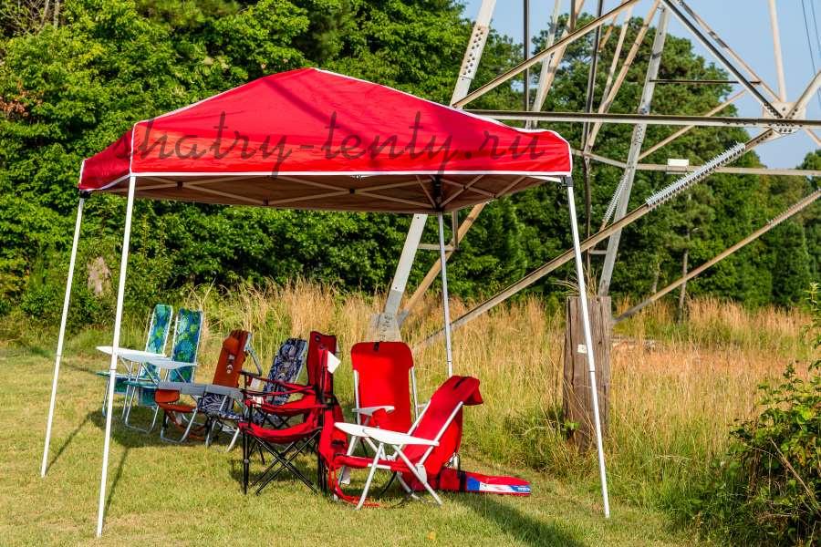 Мобильные складные стулья-кресла под раскладном тенте-шатре