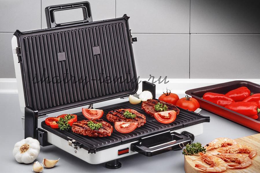 Прижимной настольный электрический гриль для приготовления мяса и овощей