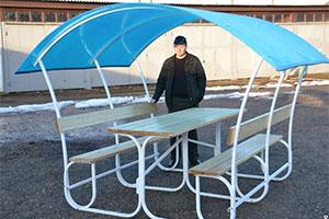 Сборно/разборная беседка-шатер «Летняя» с крышей из синего поликарбоната