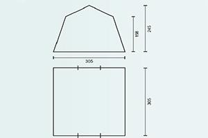 Схема с размерами тента-шатра Campack Tent G-3413