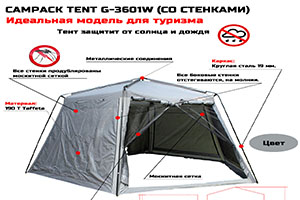 Шатер Campack Tent G-3601Wсхема преимуществ