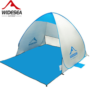 Синий шатер складной для пляжа WIDESEA, вид сбоку