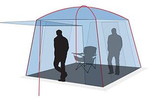 Тент-шатер Canadia Camper Camp с человеком в полный рост