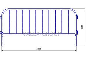 Схема с размерами переносного барьера «ВАЛЕКС» стандартные (средние) Производитель: VALEX GROUP Россия