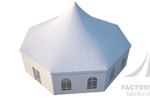 Вид сверху на шестигранный шатер Стандарт, производства ФАБРИКА ШАТРОВ, Россия