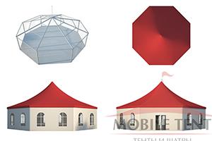 Вид со всех сторон на шестигранный шатёр MOBILE TENT из ПВХ