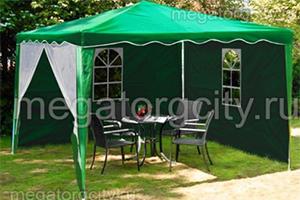 Зеленый шатер-автомат GREEN GLADE 3001 - 3 X 3 М с садовой мебелью внутри