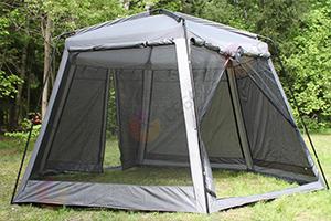 Зеленый шатер шестигранный туристический LANYU 430 Х 230 СМ установленный в лесу производство Китай