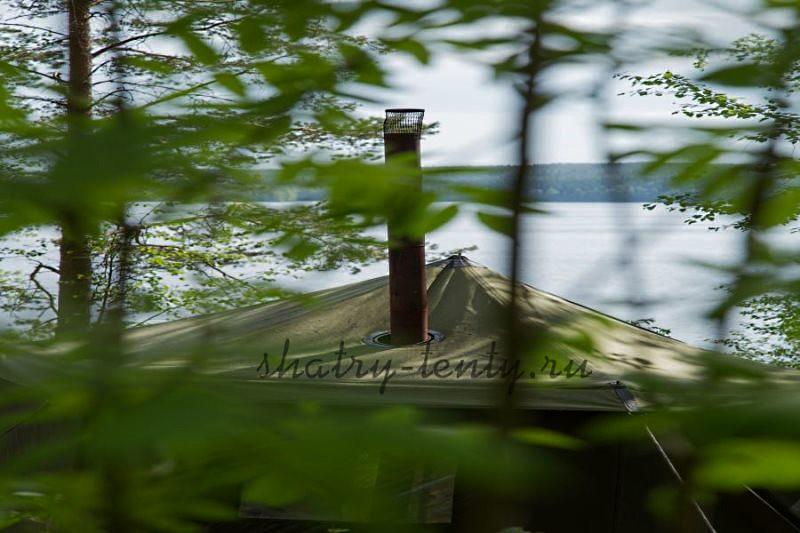 Банная палатка с регулируемым отверстием под дымоход в крыше
