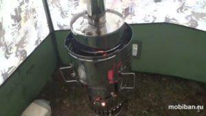 Банная парогенерирующая печь «КЦ-1 - Гравицапа» в банной палатке из нержавеющей стали AISI 430, толщиной 0,5 мм.