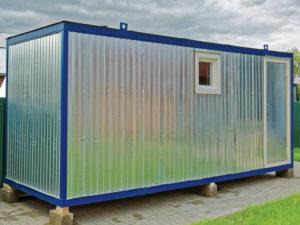 Банный блок-контейнер «Детинец» цвета металлик, вид снаружи