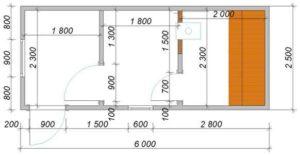 Банный блок-контейнер «Детинец», схема с расположений комнат и размеры