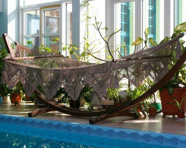 Гамак плетеный коричневый Vintage на подставке, Бразилия